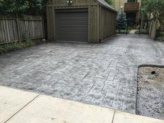 Small Ashlar Slate Stamped Concrete Driveway in London Ontario Stamped Concrete Driveway, Concrete Driveways, Driveway Ideas, Patio Ideas, Slate, Ontario, Sidewalk, Exterior, London