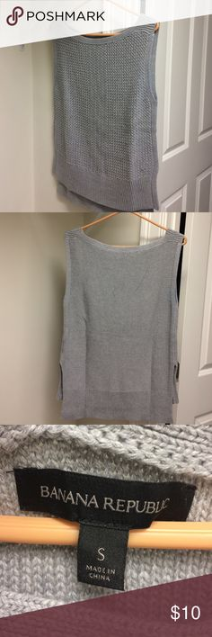 """Banana Republic gray vest Boat neck Banana Republic vest 60% cotton 20%nylon 20%viscose. Beautiful cable knit. Length 25"""" front with 27"""" in back. Chest 18""""z. Banana Republic Sweaters Cardigans"""