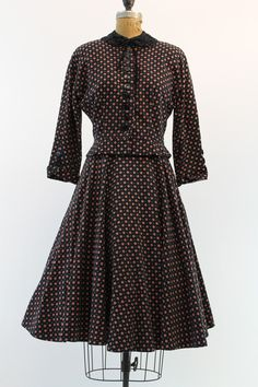 50s Suit Small / 1950s Peplum Jacket and Skirt by CrushVintage