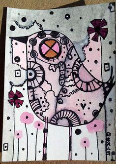 Bird Art aceo watercolor, pastels, prismacolor, etc