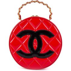 Chanel Vintage Round Vanity Tote found on Polyvore featuring bags, handbags, tote bags, chanel, red, zip tote, quilted tote bag, red patent leather tote, vintage tote and red patent leather handbag