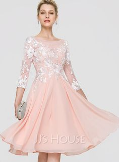[US$ 115.00] A-Line Scoop Neck Knee-Length Chiffon Homecoming Dress Lace Homecoming Dresses, Wedding Party Dresses, Bridesmaid Dresses, Formal Dresses, Dress With Bow, The Dress, Cocktail Dresses With Sleeves, Looks Chic, Custom Dresses