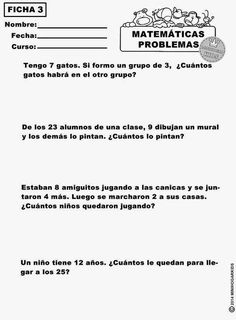 AQUÍ TIENES 6 FICHAS  de matemáticas con diferentes tipos de problemas muy fáciles, para que demuestres tu pericia mental... Breakout Boxes, Math Questions, 2nd Grade Math, Learn To Read, Math Centers, Fun Learning, Mathematics, Spanish, Homeschool