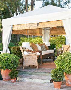 Patio gazebo with shades. Outdoor Retreat, Backyard Retreat, Outdoor Rooms, Outdoor Gardens, Outdoor Living, Outdoor Decor, Backyard Cabana, Outdoor Cabana, Backyard Gazebo