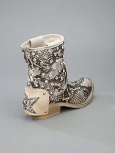 Baldan - studded python skin boot 9