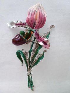 Trifari Enamel & Rhinestone Orchid Brooch