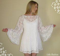 60s Dress White Lace Angel Sleeve Dress Mini by CalleModista