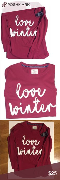 "Maroon ""Love Winter"" Shirt size Large Super comfy shirt with long sleeves that says ""Love Winter"". Ultimate Statement Shirt that is as adorable as it is comfortable.Grab your jeans, leggings or even . Will pair well with any outfit whether it be lounging around, casual shopping or even enjoying a delicious brunch. Insta-worthy design and lettering. Excellent quality and length. ❄️☃️☕️Bundle up and save! ❄️☃️ Tops Tees - Long Sleeve"