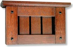 Quartersawn oak cabinet with genuine ebony square plugs. Accommodates back doorbell as well as front. Craftsman Door, Craftsman Interior, Craftsman Furniture, Craftsman Style, Door Bell Chime Cover, Home Inside Design, Doorbell Cover, Arts And Crafts Interiors, Mission Furniture
