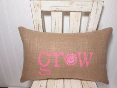 pink decorative pillow, grow pillow, garden pillow, bubble gum pink, pink bedroom decor, pink accent pillow, READY TO SHIP