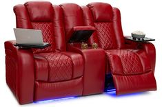 Seatcraft Anthem Home Theater Sectional - 4Seating Leather Reclining Loveseat, Reclining Sectional, Loveseat Sofa, Sectional Sofa, Recliner, Couches, Home Theater Room Design, Home Theater Furniture, Home Theater Rooms