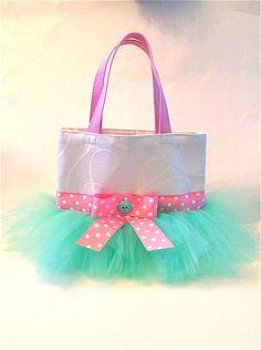 Pink and Mint Tutu Tote Bag - Dance Bag - Tutu Bag on Etsy, $28.00