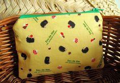 Mini Zipper Pouch/ Cute Camera Bag with Mini Hedgehogs. $8.00, via Etsy.