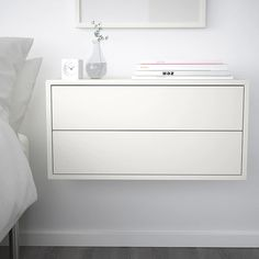 Could make a long walk of storage/desk with EKET Cabinet with 2 drawers, white - white - IKEA Ikea Eket, Painted Drawers, Style Deco, New Room, New Furniture, Ikea White Furniture, Luxury Furniture, Bedroom Decor, Mesas De Luz