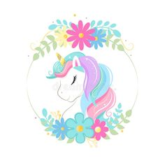 Cute Magic Cartoon Unicorn Head With Frame Of Flowers. Illustration For Children Stock Vector - Illustration of frame, closed: 148033041 Unicorn Painting, Unicorn Drawing, Cartoon Unicorn, Unicorn Head, Unicorn Art, Magical Unicorn, Cute Unicorn, Cute Animal Drawings, Cute Drawings