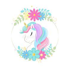 Cute Magic Cartoon Unicorn Head With Frame Of Flowers. Illustration For Children Stock Vector - Illustration of frame, closed: 148033041 Unicorn Painting, Unicorn Drawing, Cartoon Unicorn, Unicorn Head, Unicorn Art, Cute Unicorn, Bday Background, Unicornios Wallpaper, Graphics Vintage