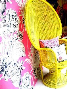 Yellow peacock chair