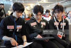 News Photo : Yuzuru Hanyu, Keiji Tanaka and Shoma Uno of Japan...