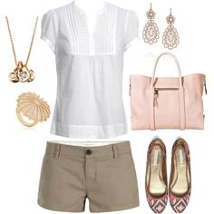 White, Khaki & Light Pink