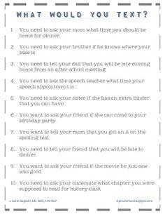 Expressive Language Lesson: What Would You Text? #slpeeps