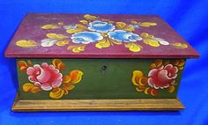 Vintage German Folk Art Tramp Art Handpainted Wood Box # 16