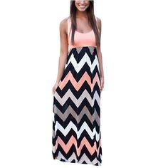 Women's Wave Striped Summer Beach Dress Party Long Maxi Dresses Pink:Summer Fashion: Spring Outfits:Casual Outfits:Beach Outfits:Cute Outfits:Summer Dress
