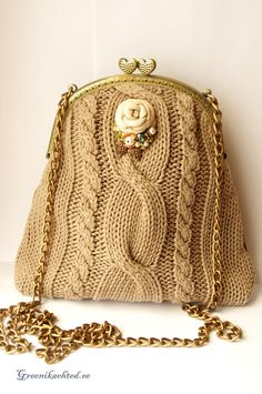 Beige leather purse with knitting and vintage metal by Greenika,