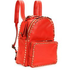 Valentino Rockstud Medium Backpack ($2,945) ❤ liked on Polyvore featuring bags, backpacks, bolsa, rucksack bag, knapsack bags, red backpack, valentino bags and red bag