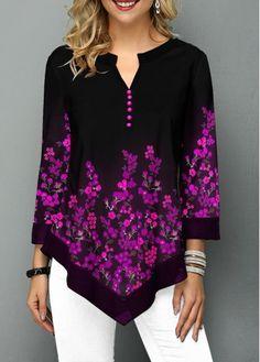 Fall Floral Print Loose Blouse For Women Over 50 Asymmetric Hem Flower Print Split Neck Blouse Trendy Tops For Women, Blouses For Women, Blouse Styles, Printed Blouse, Clothes, Tops Online, Shirts Online, Tribal Leggings, Black Leggings