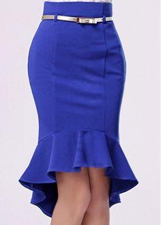 Charming High Low Hem Design Blue Mermaid Skirt - Such an adorable skirt! Skirt Outfits, Dress Skirt, Skirt Fashion, Fashion Dresses, Fishtail Skirt, Mermaid Skirt, Work Attire, Mini Skirts, Tight Skirts