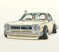 "ozizo:  car illustration ""crazy car art"" jdm  japanese old school ""HAKOSUKA"" original cartoon ""mame mame rock""   /   © ozizo"