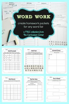 FREEBIE! Word Work collection for any words - includes sets for 5, 10 or 15 words from The Curriculum Corner via @The Curriculum Corner