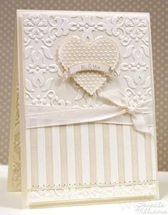 Stampin' Up!  by Teneale Williams. Vintage wallpaper and stripes embossing. Beautiful wedding or anniversary card.