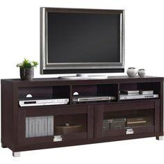 """Techni Mobili Durbin TV Cabinet for TVs up to 65"""", Espresso. WalMart $99. 57.5""""w"""