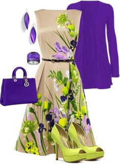 The green is a bit vivid. I think the outfit would look better with a white base on the dress, purple shoes, and a green jacket. Mode Outfits, Dress Outfits, Dress Up, Fashion Outfits, Womens Fashion, Cheap Fashion, Work Fashion, Spring Fashion, Little Dresses