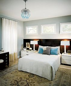 blue brown and WHITE bedroom