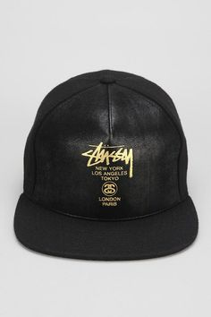 Stussy World Tour Faux-Leather Snapback Hat 2ab5fa4b6d3c