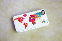 Colorful World Map Custom iPhone 4 and 4s Case - unique iphone cases, gift ideas, globe on Etsy, $17.49