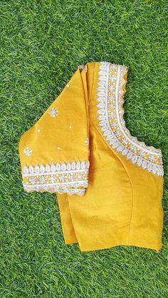 Yellow raw silk silver zardosi maggam work blouse from HoneyBee Handlooms Stylish Blouse Design, Fancy Blouse Designs, Sari Blouse Designs, Bridal Blouse Designs, Maggam Work Designs, Indian Designer Wear, Mirror Work Saree Blouse, Zardosi Work Blouse, Mirror Work Blouse Design