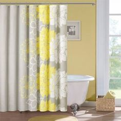 yellow shower curtain on Wanelo