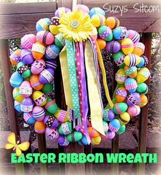 Easy DIY ribbon Easter wreath!  Fun project!