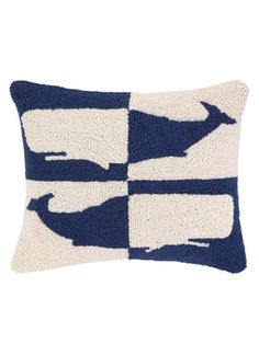 Double Colorway Whales Pillow from Not Your Grandma's Needlepoint Pillows on Gilt
