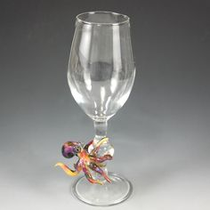 Wine Glass Goblet Handmade Lampwork Dancing Octopus Cup Colectabe Art Glass RC Art Glass Drinking Glass by Glassroger on Etsy