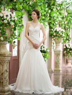 Ivory Sweetheart Lace-up Ruched Chiffon Bridal Mermaid Wedding Dress - Milanoo.com