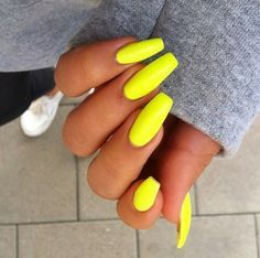 neon yellow acrylic nails - Google Search