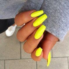 neon yellow acrylic nails - Google Search