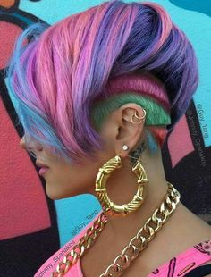 Beauty: Fantasy Unicorn Purple Violet Red Cherry Pink yellow Bright Hair Colour Color Coloured Colored Fire Style curls haircut lilac lavender short long mermaid blue green teal orange hippy boho ombré woman lady pretty selfie style fade makeup grey white silver trend trending Pulp Riot Undercut