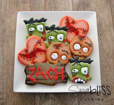 Zombie cookies by SugarBliss Cookies Halloween Baking, Halloween Goodies, Halloween Food For Party, Halloween Desserts, Halloween Cupcakes, Halloween Birthday, Halloween Treats, Fall Cookies, Iced Cookies