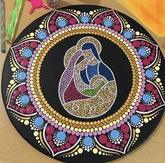 Dot Art Painting, Mandala Painting, China Painting, Christmas Mandala, Mandala Art Lesson, Mother Art, Record Art, Mandala Rocks, Gifts For My Boyfriend