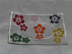 Gefuste Glass bowl Clear Tekta Bullseye glass with flowers from Thompson glass enamel. Bullseye Glass, Fused Glass, Pot Holders, Enamel, Etsy, Enamels, Florals, Ideas, Polish
